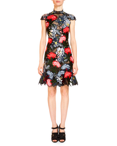 Hetty Floral-Embroidered Cap-Sleeve Dress, Black/Multi