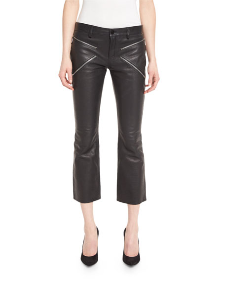 Leather Boot-Cut Cropped Pants, Jet