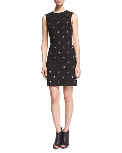 Sleeveless Dome-Embellished Dress, Jet