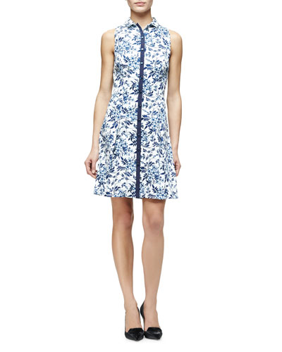 Toile de Jouy Sleeveless Floral-Print Shirtdress, Blue/White