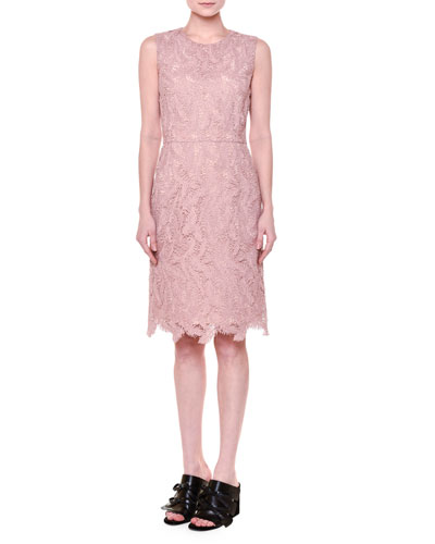 Sleeveless Feather-Macrame Dress, Dusty Pink