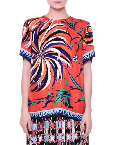 Short-Sleeve Cactus-Print Blouse, Orange