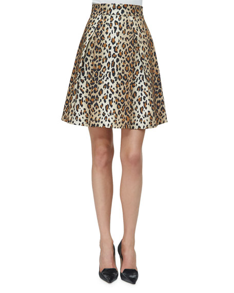 Carolina Herrera Cheetah-Print Stretch-Cotton Party Skirt