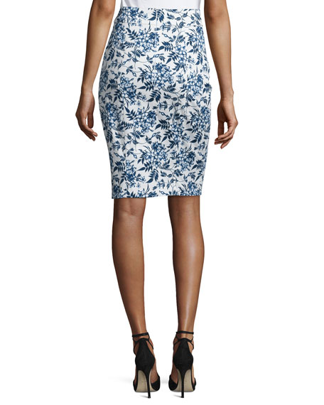 Toile de Jouy Pencil Skirt, Navy/White