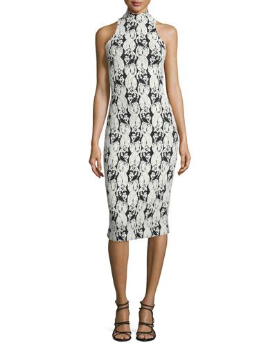Halter-Neck Cable-Print Midi Dress, Black/White/Multi