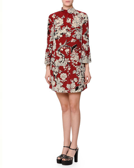 Valentino 3/4-Sleeve Printed Trapeze Dress, Melgrano Dark Red