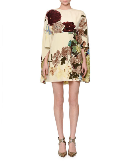 Valentino Kimono-Sleeve Printed Mini Dress