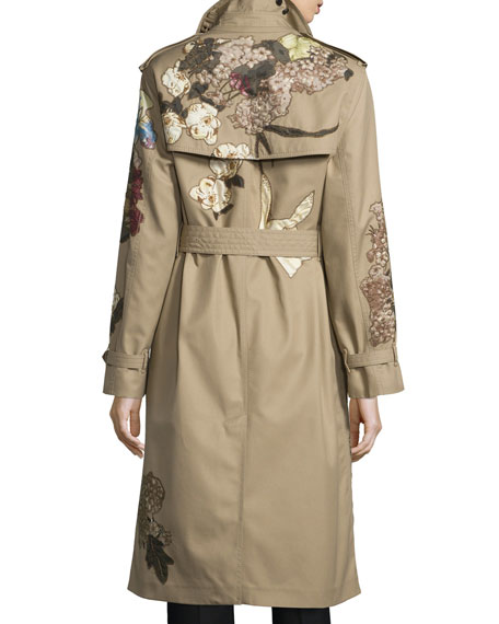 valentino kimono embroidered trenchcoat beige. Black Bedroom Furniture Sets. Home Design Ideas
