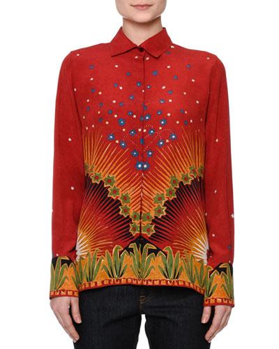 Long-Sleeve Mixed-Print Shirt, Red/Multi