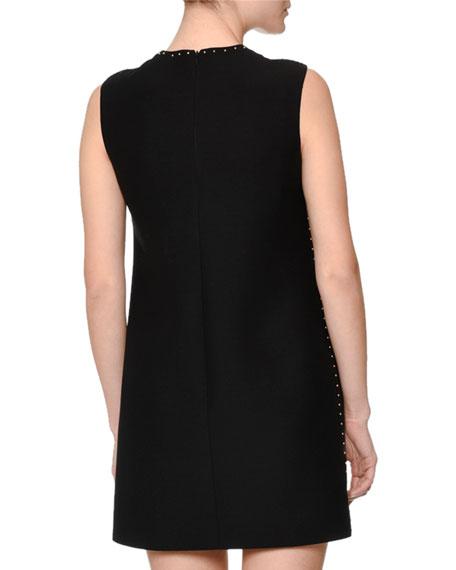 Sleeveless Jewel-Neck Embellished Mini Dress, Black
