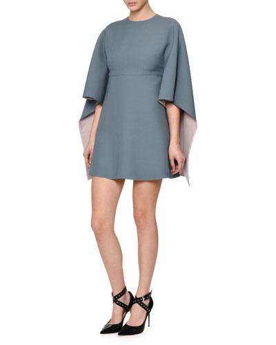 Kimono-Sleeve Two-Tone Mini Dress, Blue/Pink
