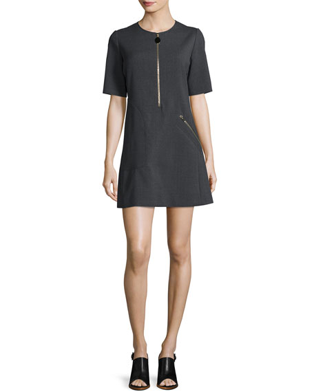 Short-Sleeve Zipper Mini Dress, Granite