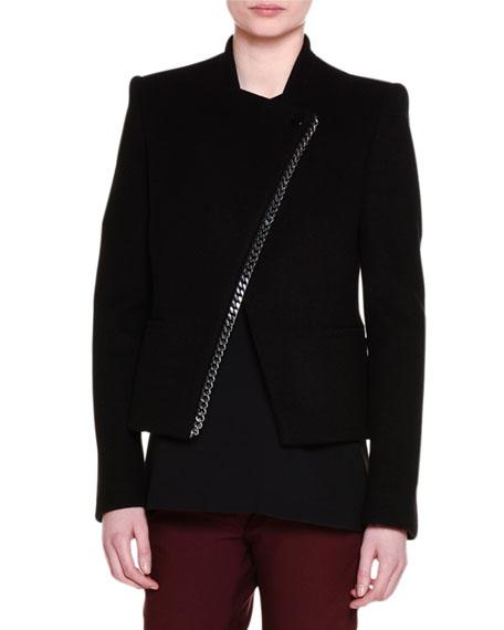 Stella McCartney Falabella Chain-Trim Melton Jacket, Falabella