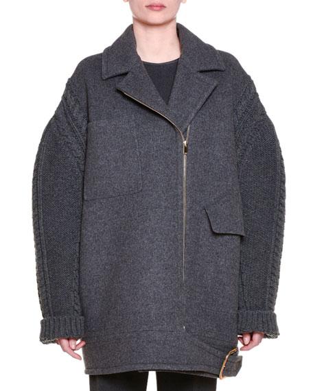 Stella McCartney Asymmetric Zip-Front Oversized Coat, Granite