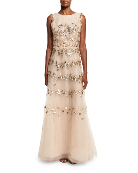 Sleeveless Beaded Tulle Gown, Gold