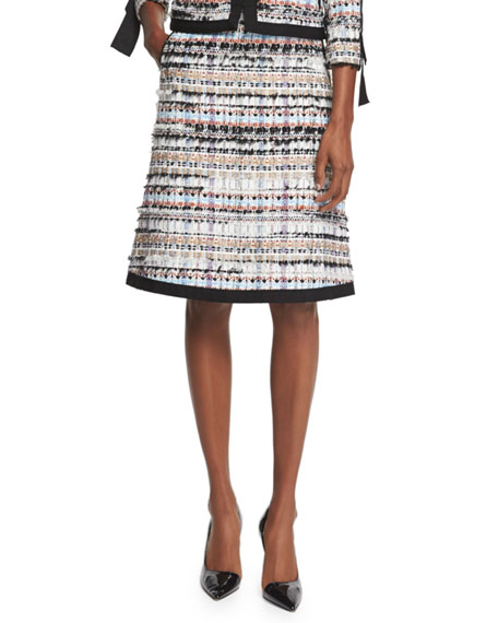Oscar de la RentaTweed A-Line Skirt W/Pockets, Camel