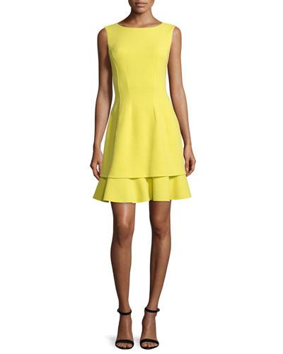 Sleeveless Layered-Hem Dress, Citron