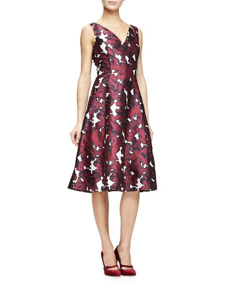 Oscar de la Renta V-Neck Floral-Print Fit-&-Flare Dress,