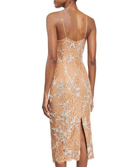 Crystal-Encrusted Floral-Lace Slip Dress, Suntan