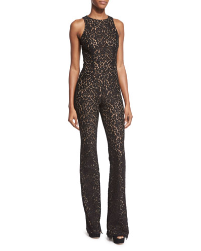 Sleeveless Floral Lace Jumpsuit, Black