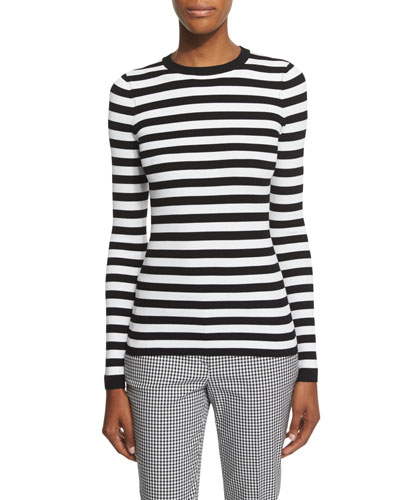 Long-Sleeve Striped Top, White