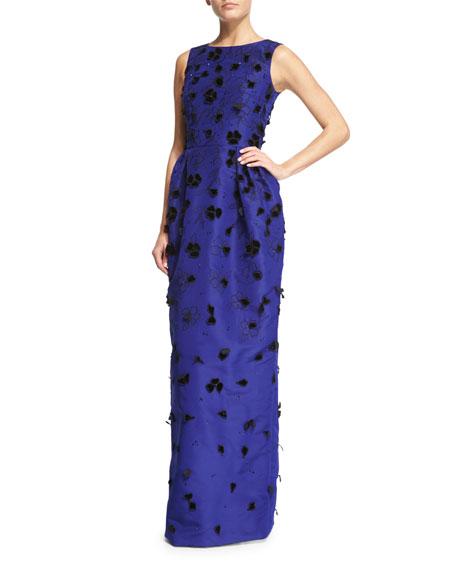 Oscar de la Renta Velvet-Appliqué Column Gown, Ultra