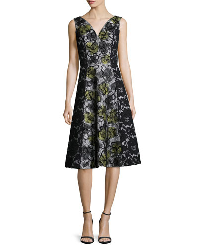 Sleeveless V-Neck Lace Cocktail Dress, Black/Citron