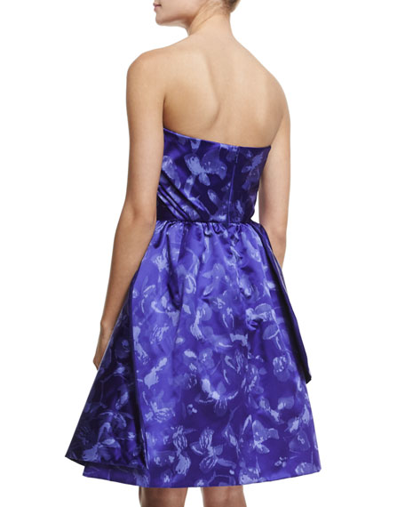 Strapless Draped Cocktail Dress, Ultra Marine