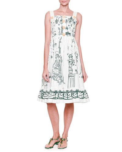 Flounce-Hem Button-Front Tank Dress, White/Green