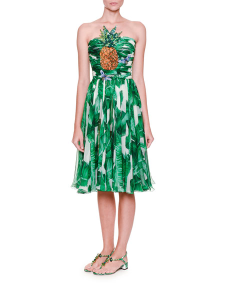 Dolce & Gabbana Embellished Strapless Printed Dress, White/Green