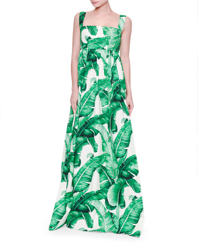 Banana Leaf-Print Maxi Tank Dress, White/Green