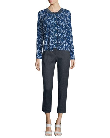 Floral Lace-Print Wool/Silk Tank, Midnight