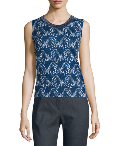 Floral Lace-Print Wool/Silk Tank, Midnight