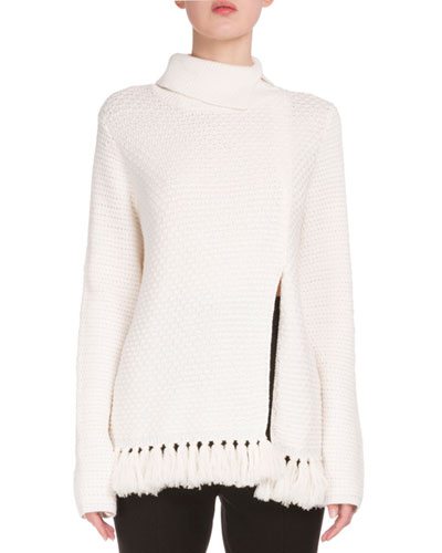 Front-Slit Fringe-Hem Sweater, Off White