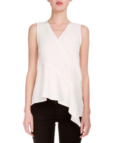 V-Neck Asymmetric-Hem Tunic, Off White