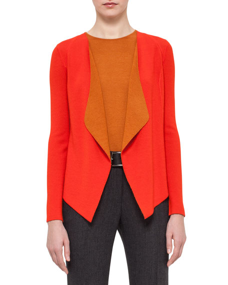 Draped Open-Front Two-Tone Cardigan, Toucan/Karminspint