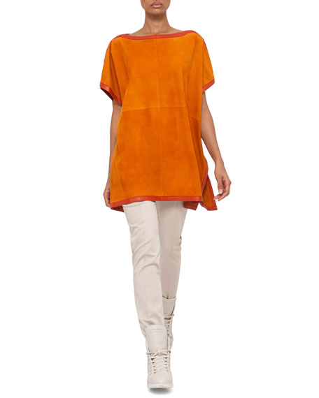 Short-Sleeve Suede Tunic Blouse, Karminspint