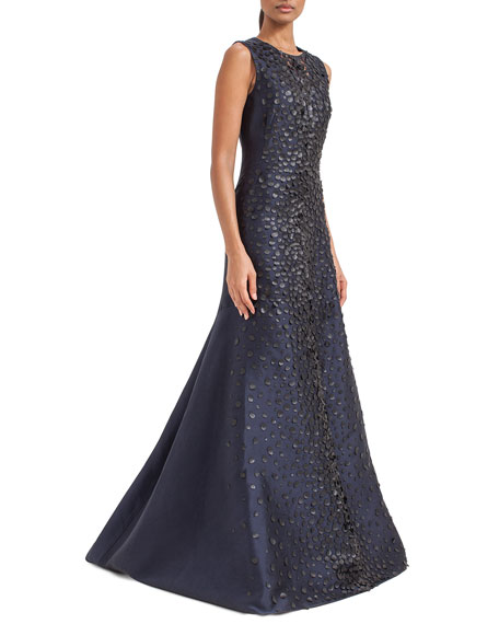 Sleeveless Embellished-Front Gown, Starling