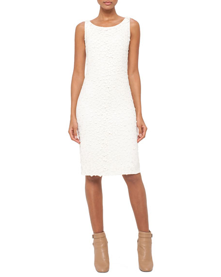 Akris Sleeveless Embellished-Front Sheath Dress, Pelican