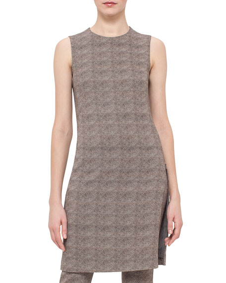 Akris Sleeveless Turtle-Print Sheath Dress, Elephant