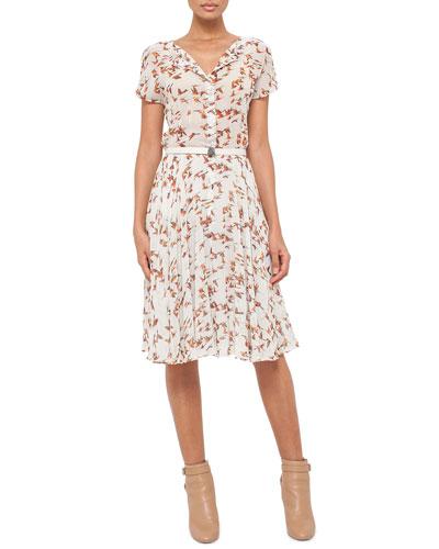 Short-Sleeve Karminspint Bird-Print Belted Dress, Multi Colors