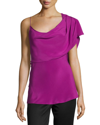 One-Shoulder Draped Tank Top, Orchid