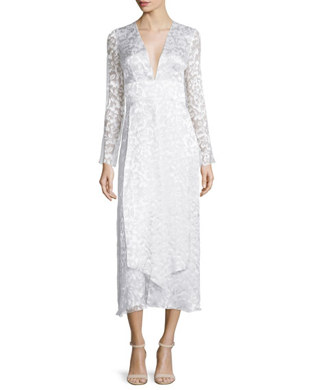 Long-Sleeve Plunging-Neck Midi Dress, Soft White