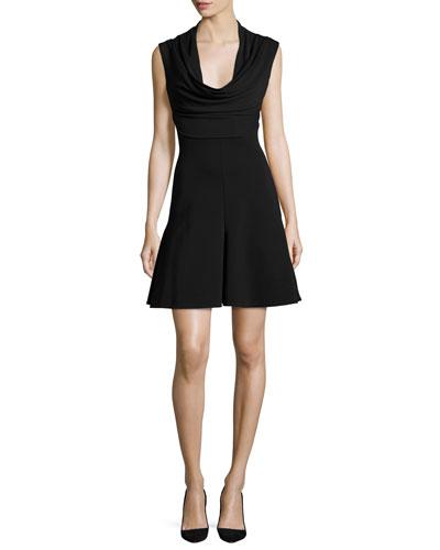 Sleeveless Cowl-Neck Power Dress, Black