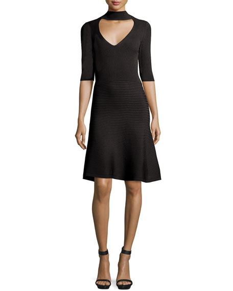 Mock-Neck Ribbed A-Line Dress, Black