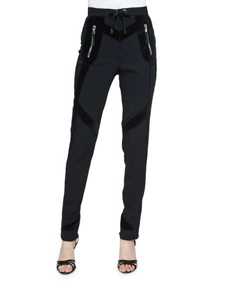 Altuzarra Rye Velvet-Trim Skinny Jogger Pants, Black