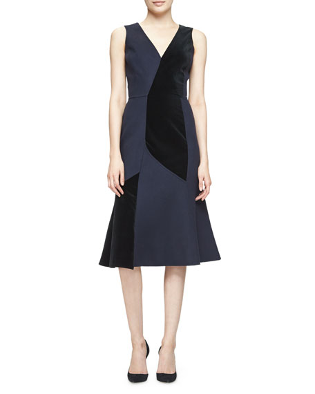 Derek Lam Sleeveless Velvet-Inset Dress, Classic Navy