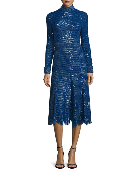 Sequined Long-Sleeve High-Neck Dress, Blue