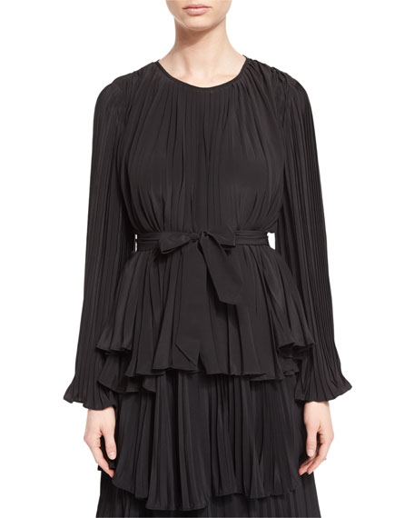 Co Bell-Sleeve Belted Plisse Blouse, Black