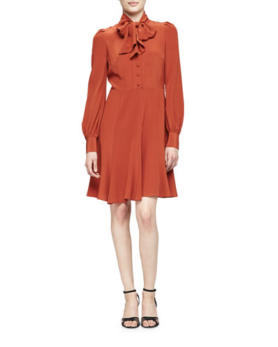 Puffed-Sleeve Tie-Neck Dress, Burnt Sienna